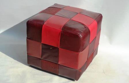Lederhocker verschiedene Rottöne