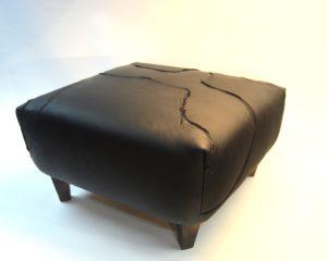 Lederhocker schwarz Nappa