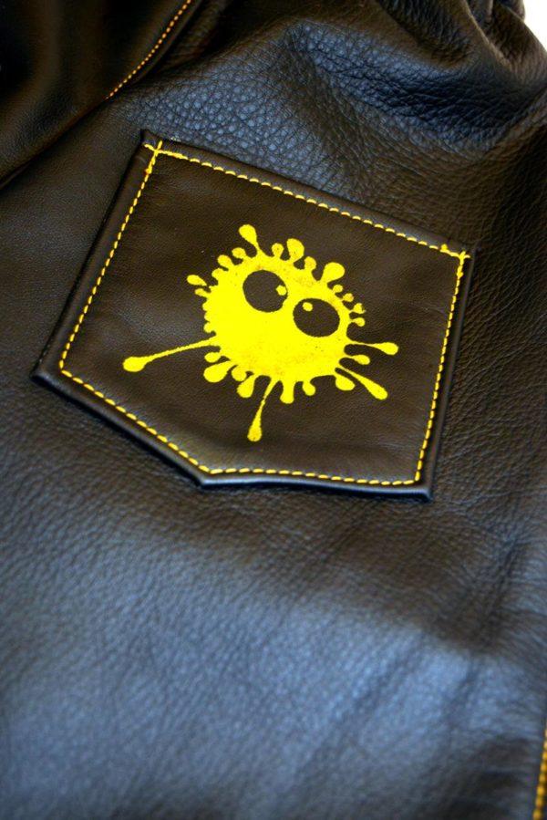 Lederhose schwarz Gr 86-92-98 Rückseite Tasche