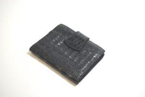 Damenbörse schwarz matt Krokoleder